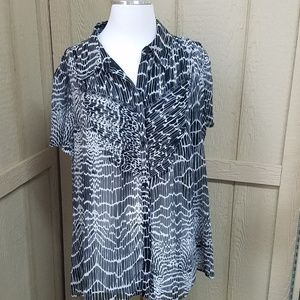 East 5th Women's Semi Sheer Black and White Blouse
